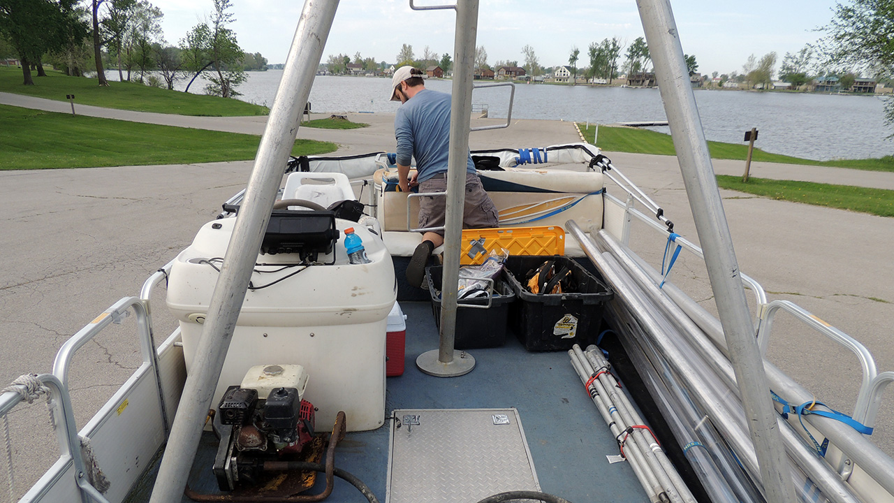 Coring lake sediments