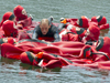 ten people in survival suits form a raft to support an unsuited person