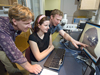 Rob Reves-Sohn, JP student Claire Willis, and Adam Soule discussing data collected from the Gakkel Ridge.