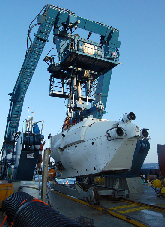Alvin being deployed off the R/V Atlantis (LADDER 3 cruise).