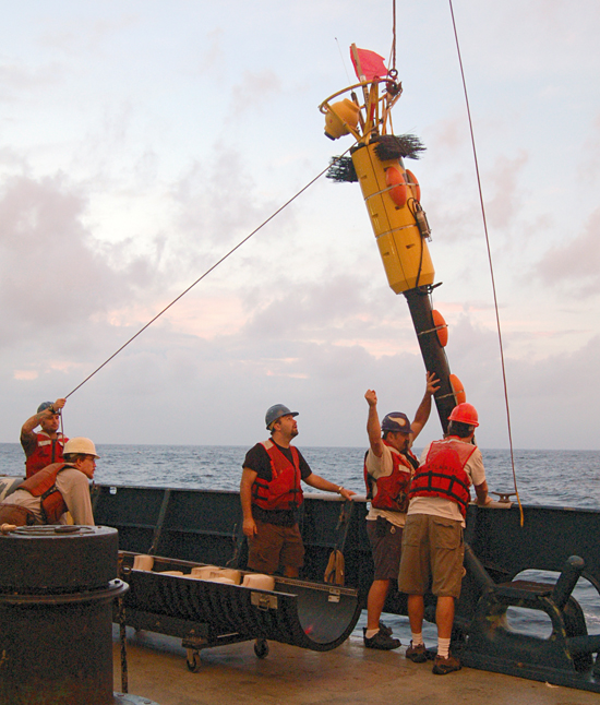 Recovering the microprofiler on LADDER 3 cruise off Manzanillo in late November, 2007.