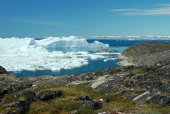 Glacier off Greenland coast.