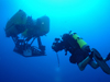 diver and nereus under water