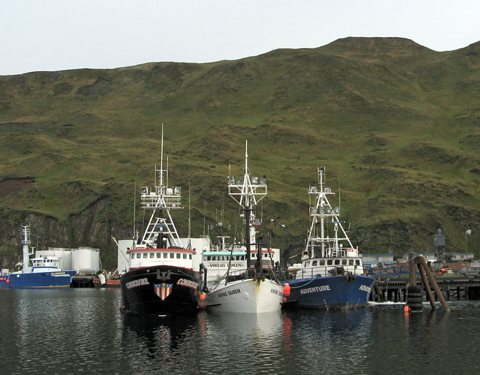 small fishing boats at dock in Dutch Harbor, AK