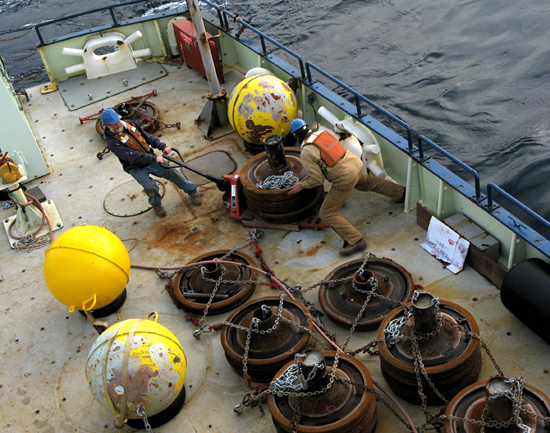 moving mooring anchors on deck