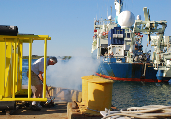 Ben Allen firing the canon upon the arrival of the R/V Knorr.