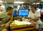 Chief Scientist, Rich Camilli, a WHOI environmental engineer, and co-principal investigator Chris Reddy, a WHOI marine chemist and oil spill expert, aboard the research vessel Endeavor in June 2010 in the Gulf of Mexico.