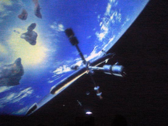 A view of the International Space Station from an inflatable planetarium