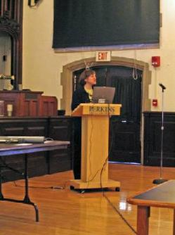 Image of Dr. Amy Bower speaking to students at Perkins School for the Blind