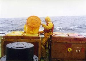 Jim Ledwell Handling a Dye Barrel