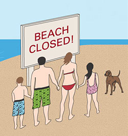 Why is the beach closed?
