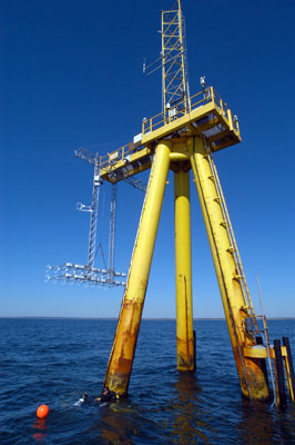 Close up of the Air-Sea Interaction Tower at MVCO.