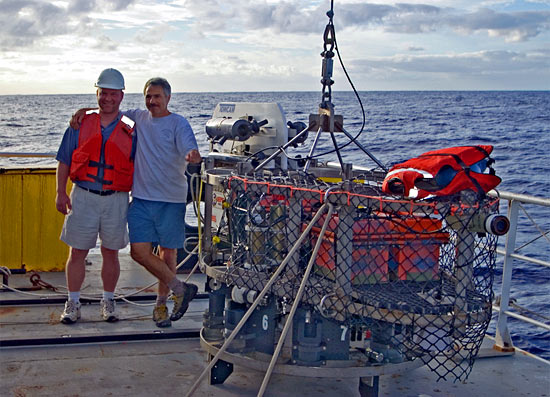 Dan Fornari (right) and Tim Shank pause on deck with TowCam