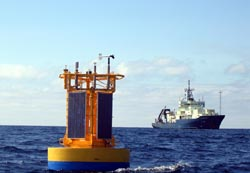 The Nootka buoy sits in the water above ocean-bottom sensors