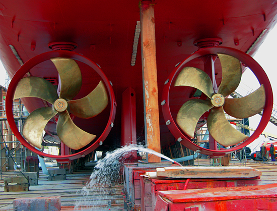 Fresh from refinishing, the ?Z-drive? propulsion units of the R/V Knorr are exposed in a Jacksonville shipyard.