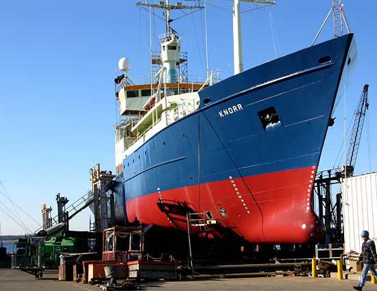 The WHOI research vessel Knorr, high and dry at Atlantic Dry Dock in Jacksonville, Florida