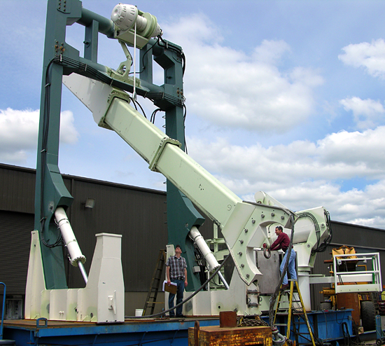 WHOI Long Core handling equipment being tested on a mock-up of the R/V Knorr?s stern section.