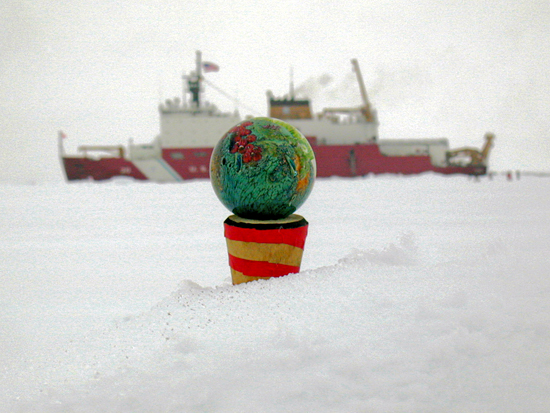 This ?Possibly Inhabited Planet?, a valuable work of art created by glassblower Josh Simpson was left at the North Pole in September 2001.