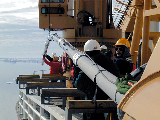 An 80 foot long ?Jumbo? piston core is launched from the deck of the USCG icebreaker Healy