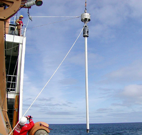 WHOI's GGC being deployed from USCG Healy