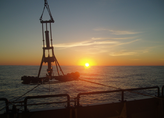 Evening instrumentation deployment off R/V Oceanus during cruise OC433.