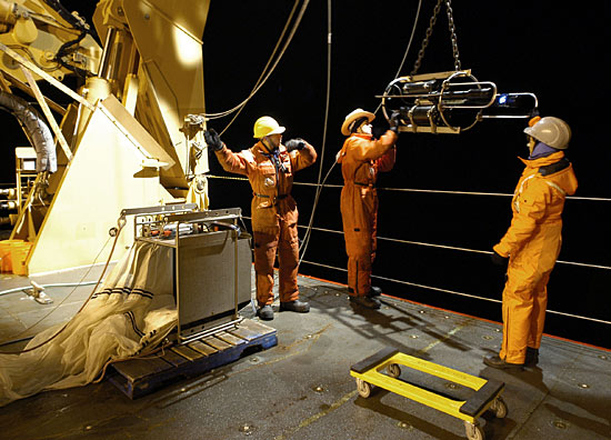 Night time deployment of a VPR from the A-frame of the USCGC Healy.