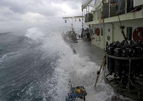 Wave breaching R/V Oceanus