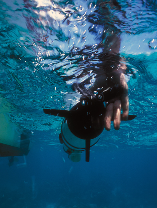 Underwater release of a REMUS in Belize.
