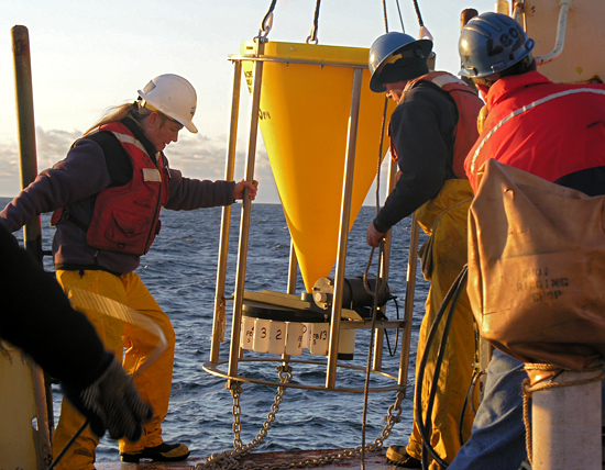 Deploying a sediment trap from R/V Oceanus