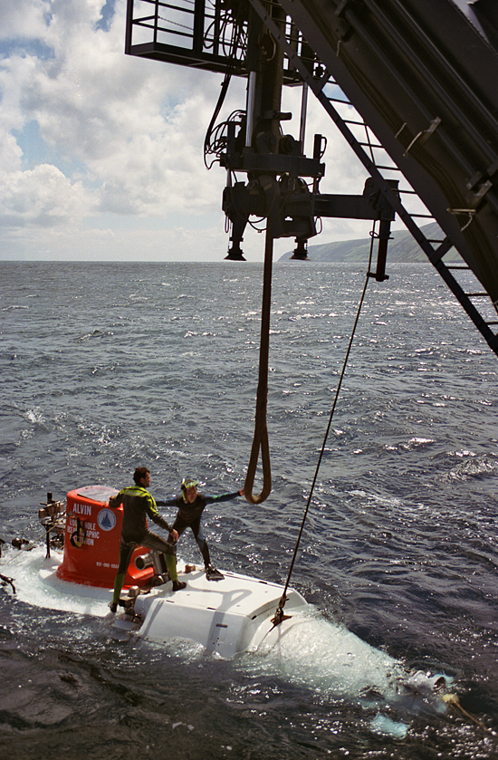 DSV Alvin retrieval at the stern of R/V Atlantis