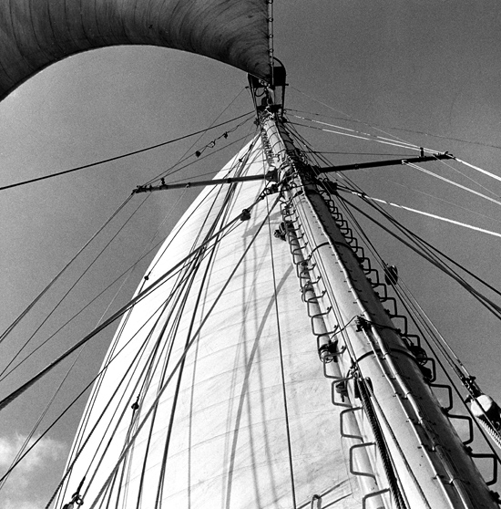 The original R/V Atlantis mainmast and sails.