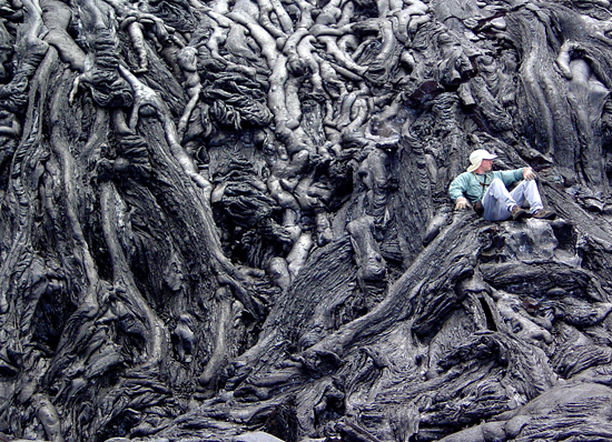 Adam Soule sits on his throne of lava.