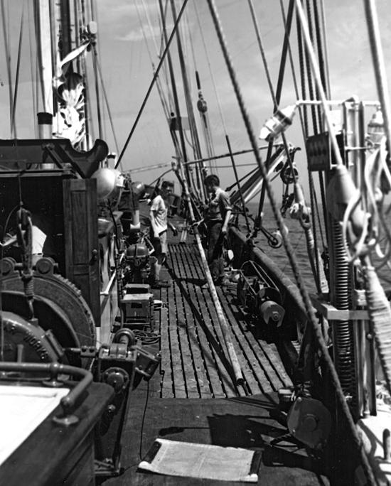 Core on deck of R/V Atlantis, circa 1956.