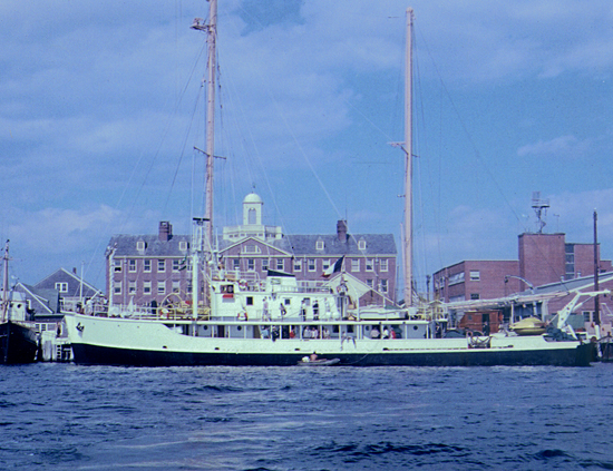 M/V Calypso at the WHOI dock, circa 1959.