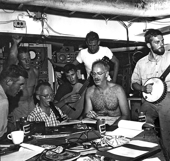 Ship mates get together for a music session aboard Yamacraw, circa 1957.