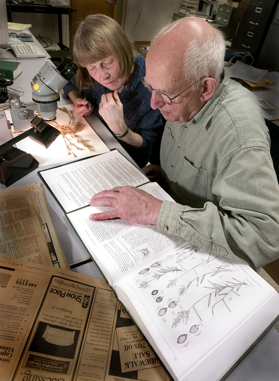 Pam Polloni and Dick Backus in the Herbarium.