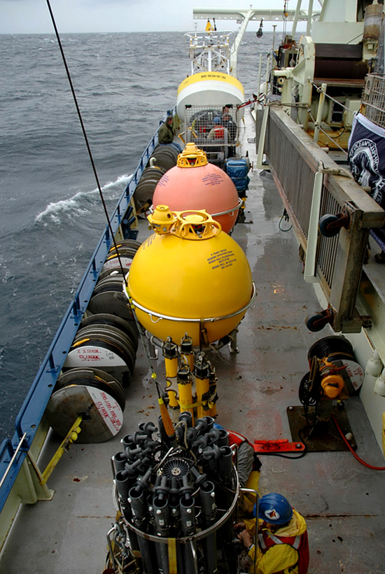 Science equipment on the deck of R/V Oceanus, sailing out to CLIMODE experiment site.