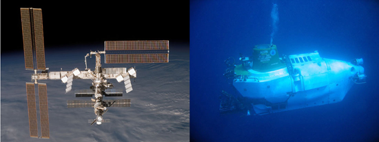 The International Space Station and DSV Alvin.