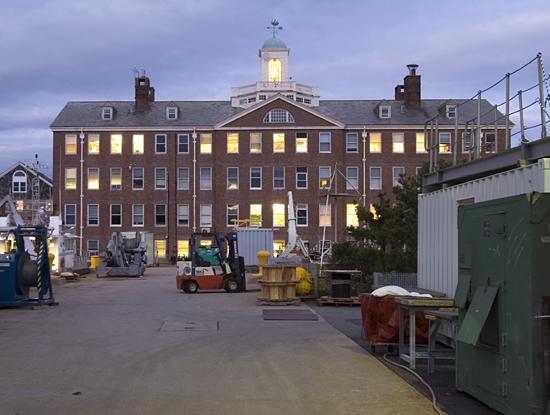 Bigelow Laboratory lit up at dusk.