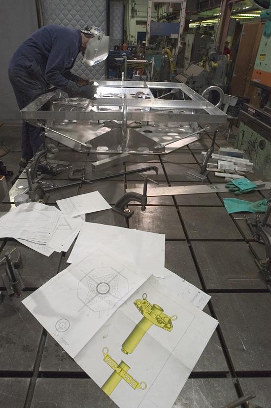 WHOI welder Geoff Ekblaw custom fabricates oceanographic instrumentation from engineering drawings.