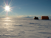 Pisten Bully towing the Thunder Sled across Ross Sea in the middle of