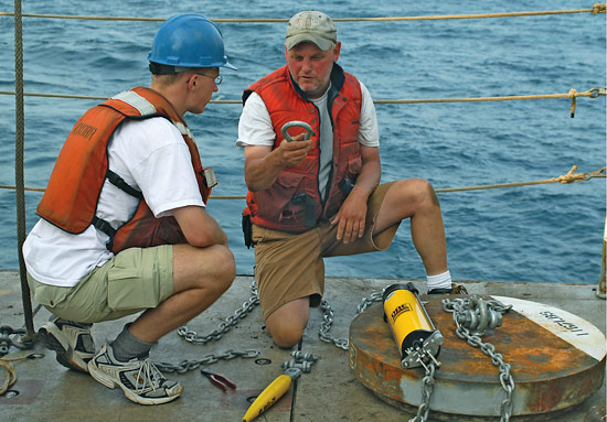 John Kemp leading efforts to deploy 62 moorings for the experiment.