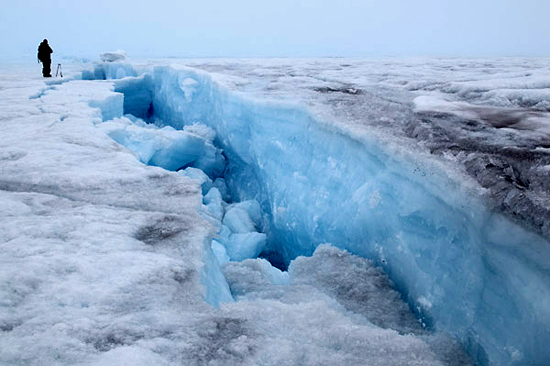 Massive bottomless crack in ice sheet.