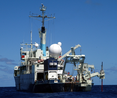 Aft view of RV Knorr during long coring operations, KNR191, September 2008.
