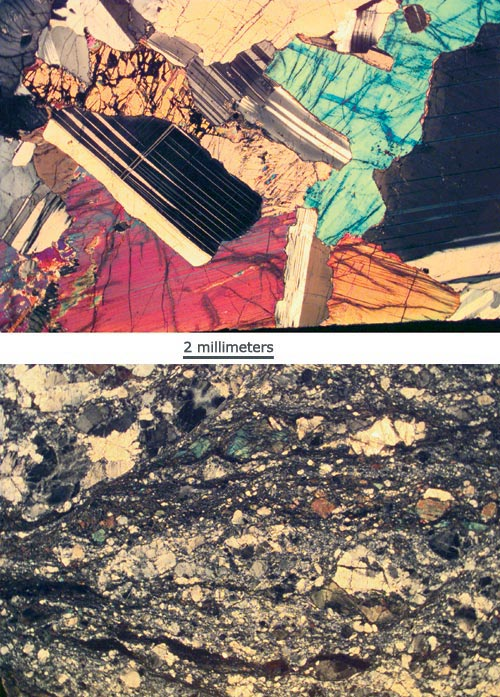 Using optical and electron microscopes, scientists can detect how crystals within rocks change