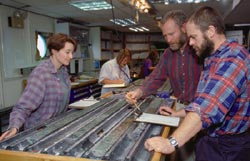 Teams of scientists study seafloor core sample