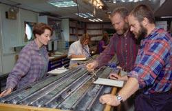 Teams of scientists study seafloor core sample