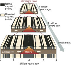 Image result for pattern of magnetic reversals on the ocean floor