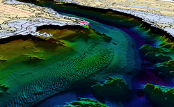 Researchers used LIDAR instruments to generate this seafloor map of the Piscataqua River inlet between Kittery Point and New Castle Island on the border between New Hampshire and Maine.