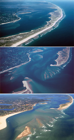 This series of photos shows the barrier beach in 1985, 1986, and 1995, before and after a winter nor'easter created a new inlet.